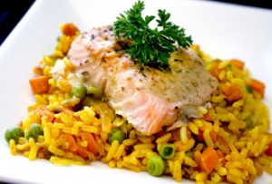 Citrus Salmon with Vegetable Paella
