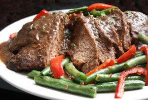 Delicious, rich, tender pot roast and lots of gravy.