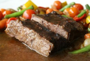 Flat Iron Beef in Bordelaise Sauce