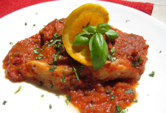 Low fat Cod in Mediterranean Sauce from MagicKitchen.com
