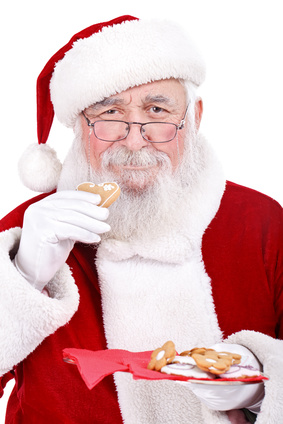 Santa eating cookie