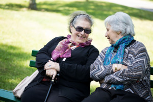 two senior ladies chatting friendly to the park