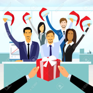 Business People Group Gift Box New Year Christmas Hat Corporate Present Party Holiday Flat Vector Illustration